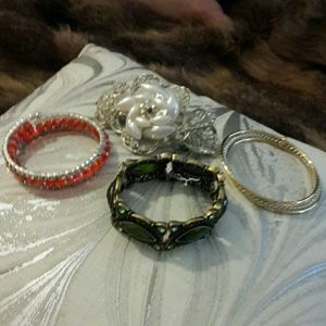 3 fashion bracelet and one hair clip